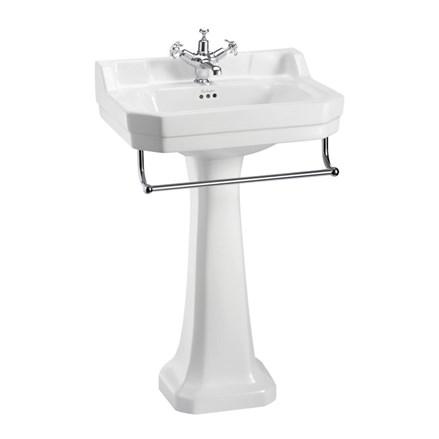 Edwardian 56cm Basin Towel Rail Standard Pedestal With 1 Tap Hole In Basins Sku B4 1th P1 T1 Chr Burlington Bathrooms