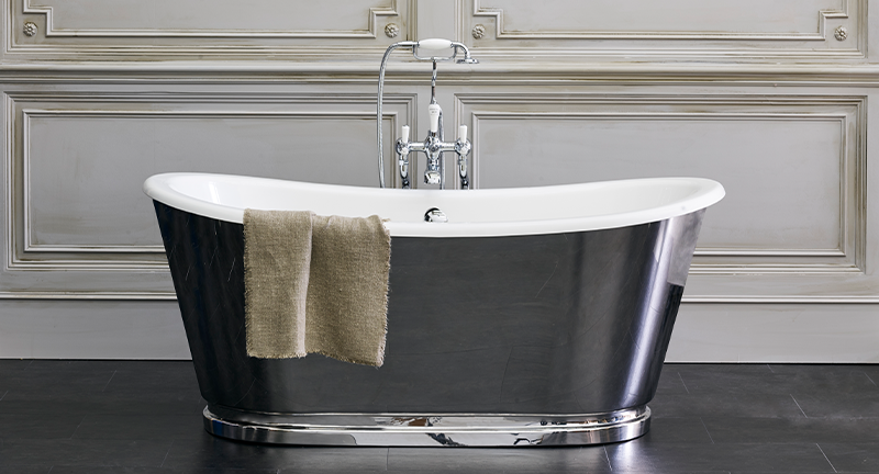 Traditional Bathroom Design | Add grandeur to your traditional bathroom with the stunning Chrome Balthazar Bath for classic style and unrivalled luxury.