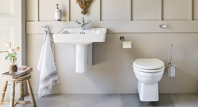 Traditional Bathroom Design | Introduce classic Chrome to the bathroom with Claremont Basin Mixer and bathroom accessories for timeless luxury.